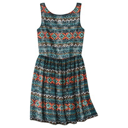 Xhilaration Juniors Printed Lace Fit & Flare Dress in Black, Gypsy Rose or Rust. Target.com