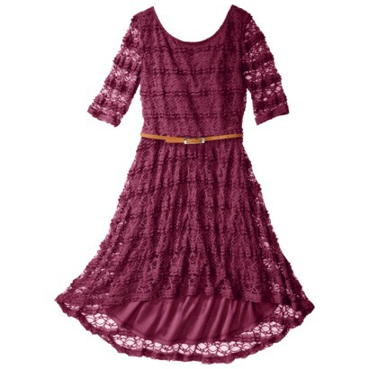 Xhilaration Juniors Belted Lace Fit and Flare dress in Rosewood, Deep Olive or Cream.  Target