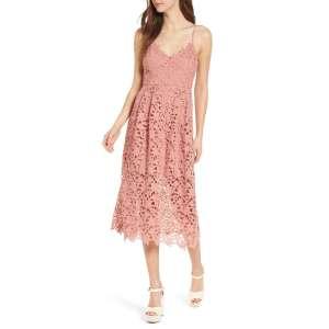 Engrossing Astr Label Lace Midi Dress Blush Pink Bridal Shower Dresses Bridal Shower Baby Shower Guest Dresses Candie Anderson Bridal Shower Dresses Bride Bridal Shower Dresses Casual Strapless