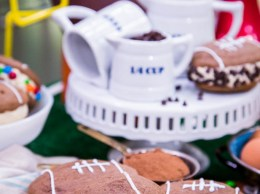 How adorable are these football shaped whoopie pies?! Cristina Ferrare and Mark Steines make football themed whoopie pies on Home & Family. H&F Photo Credit: Copyright 2014 Crown Media Family Networks/Photographer: Jeremy Lee