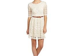 Jodi Kristopher Floral Crochet Lace Dress in Natural
