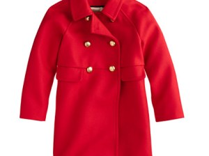 J.Crew GIRLS' WOOL GOLD-BUTTON COAT item 06670 in Red