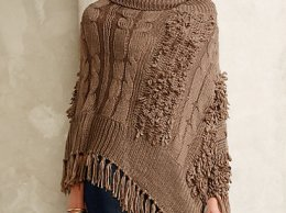 Orcas Poncho Sweater in Taupe