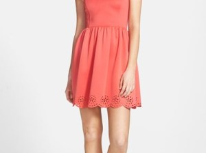 Frenchi Laser Cut Skater Dress in Pink Shell