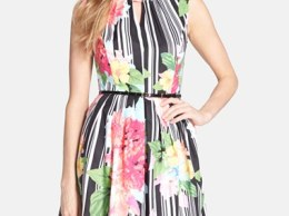 Ellen Tracy Belted Floral Print Cotton Fit & Flare Dress in Black, Pink Multi
