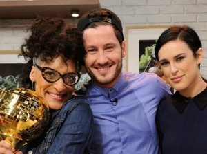 "Chef Carla Hall, and Dancing With The Stars season 20 mirrorball champions Val Chmerkovskiy and Rumer Willis pose on Thursday, May 21st in ""The Chew Kitchen""!"