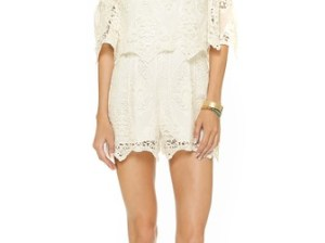 Saylor Vineyard Embroidery Daisy Romper in Creme summer inspired rompers
