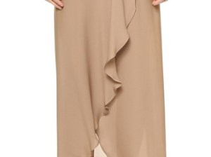 Haute Hippie Maxi Skirt with Shorts in Suntan