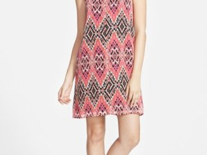 Socialite High Neck Print Shift Dress in Pink Multi