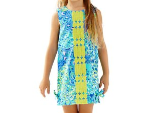 Lilly Pulitzer GIRLS LITTLE LILLY CLASSIC SHIFT DRESS in Sea Blue Lillys Lagoon
