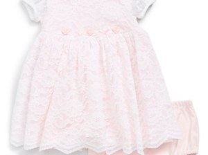 Little Me 'Luxe Lace' Dress (Baby Girls) in Pink