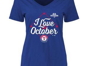 Texas Rangers Women's Royal 2015 Postseason I Love October V-Neck T-Shirt. Texas Rangers ALDS Texas Rangers Women's Royal 2015 Postseason I Love October V-Neck T-Shirt FansEdge