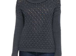 Alice + Olivia Chunky-Knit Dropped-Shoulder Turtleneck in Medium Charcoal