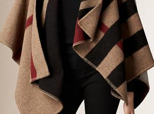Burberry CHECK WOOL AND CASHMERE BLANKET PONCHO in House Check/Black