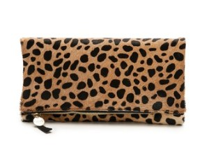Clare V. Supreme Haircalf Fold Over Clutch in Leopard Print. Shopbop