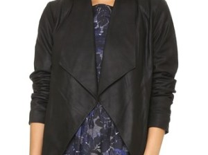 Cupcakes And Cashmere Callie Drape Front Leather Jacket in Black