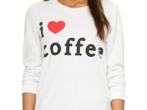 Chaser I Heart Coffee Long Sleeve Tee Sweatshirt in Antique White