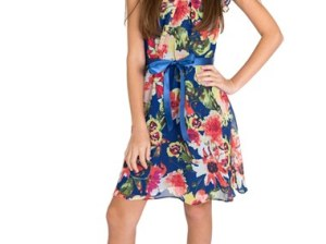 BLUSH by Us Angels Flutter Sleeve Floral Print Chiffon Dress (Big Girls) Multi sixth grade graduation dresses