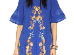 Free People Perfectly Victorian Embroidered Mini Dress Bluebird