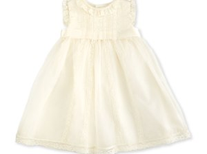 Luli & Me Sleeveless Lace-Trim Silk Organza Dress Ivory, Size 3-24 Months