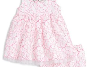 Ruby & Bloom Lace Dress (Baby Girls) Pink Knockout-White Embellished