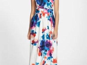 Eliza J Floral Print Halter Maxi Dress White kentucky derby halter dresses