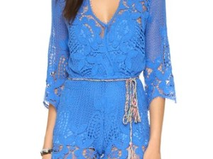 Miguelina Greta Romper French Blue lace rompers for spring