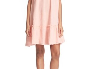 Rebecca Taylor Off the Shoulder Cotton Swing Dress Malibu Peach casual swing dresses for spring