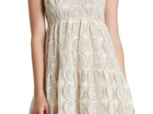 Dress the Population 'Stephanie' Sequin Crochet Appliqué Babydoll Dress Cream babydoll dresses for spring 2016