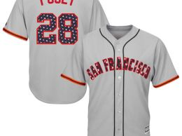 MAJESTIC BUSTER POSEY SAN FRANCISCO GIANTS GRAY STARS & STRIPES 4TH OF JULY COOL BASE PLAYER JERSEY memorial day san francisco giants stars and stripes