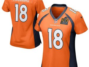 NIKE PEYTON MANNING DENVER BRONCOS WOMEN'S ORANGE SUPER BOWL 50 GAME JERSEY mother's day denver broncos gifts for mom