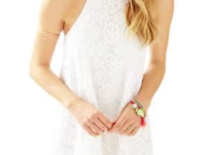 Lilly Pulitzer QUINN HALTER SWING DRESS Resort White Sandollar Lace casual halter dresses summer 2016