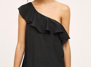 Maeve Silk One-Shoulder Blouse Black one shoulder tops summer