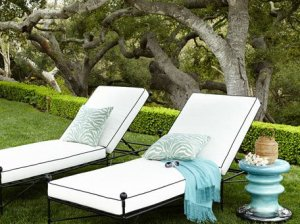 Avery Neoclassical Chaise White Black Horchow outdoor furniture sale
