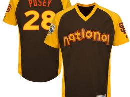Majestic Buster Posey San Francisco Giants Brown 2016 MLB All-Star Game Cool Base Batting Practice Player Jersey