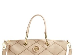 Tory Burch 'Small Stitch' Leather Satchel (Nordstrom Exclusive) Light Oak Nordstrom