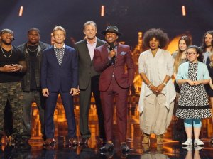 America's Got Talent host Nick Cannon poses with the season 11 contestants for the first round of judge cuts. This episode originally aired on Tuesday, July 12, 2016.