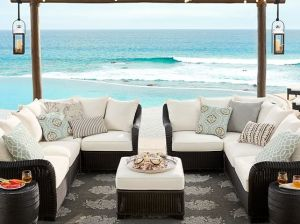 Pottery Barn PALMETTO ALL-WEATHER WICKER SECTIONAL SET - BLACK pottery barn end of season sale end of summer sale