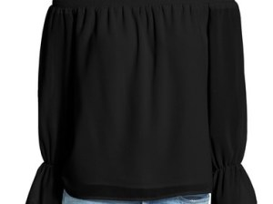 Wayf Off the Shoulder Blouse Bell Sleeves Black fall 2016 trendy bell sleeve tops
