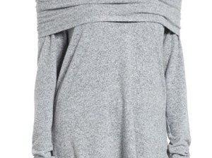 Gibson Convertible Neckline Cozy Fleece Tunic Heather Light Grey off the shoulder casual tunics fall 2016