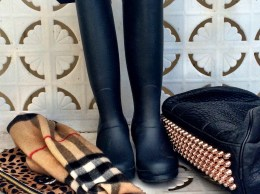 Candace Rose fashion must haves for fall: Hunter boots, Clare V. leopard print clutch, Burberry scarf and Alexander Wang Rocco bag. shopbop event of the season sale