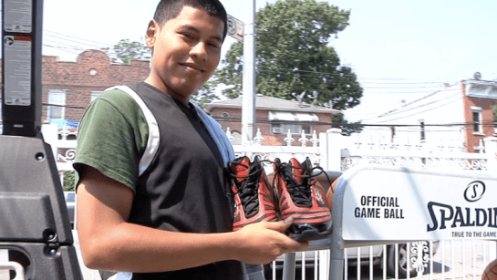 Carlos Mayorga shoes Images + Videos: NBA Champion Mario Chalmers Awards New York Teen A New Hoop, Shoes & Game of One On One!