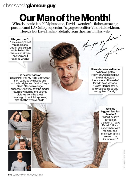 DavidBeckham SeptGlamour1 753x1024 Celebrity Image: Soccer Star David Beckham Joins Wife Victoria Beckham for Glamours Full On Fashion Issue!