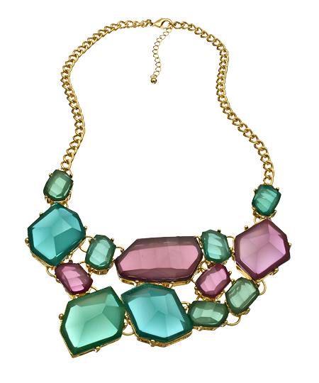 Blu Bijoux 08022012 007 rose turquoise crystal gold bib necklace L Sale Alert! Max&Chloe Jewelry Labor Day Sale Favorites! 