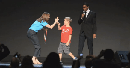 Champion receives his medal Images + Videos: Childrens Miracle Network Ambassadors Nick Cannon, Miss America 2012 Laura Kaeppeler, and Pop Star Jordin Sparks Honor 2012 Champions