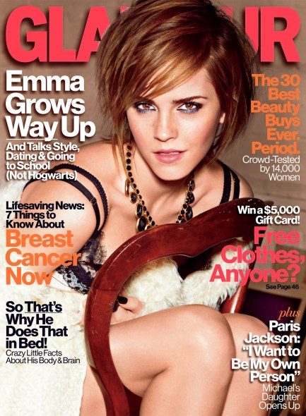 Glamour OctoberCover 752x1024 Celebrity Images: Harry Potter Star and Glamour Cover Girl Emma Watson Talks The Perks of Being a Wallflower