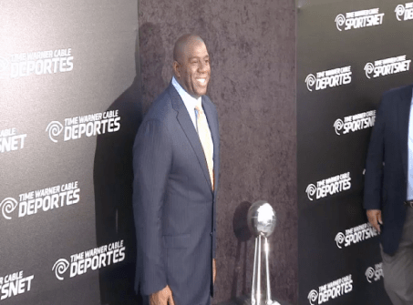 magic johnson  Images + Video: David Beckham, Magic Johnson, Kobe Bryant & LA Athletes Celebrate the Launch of Time Warner Cable SportsNet Networks