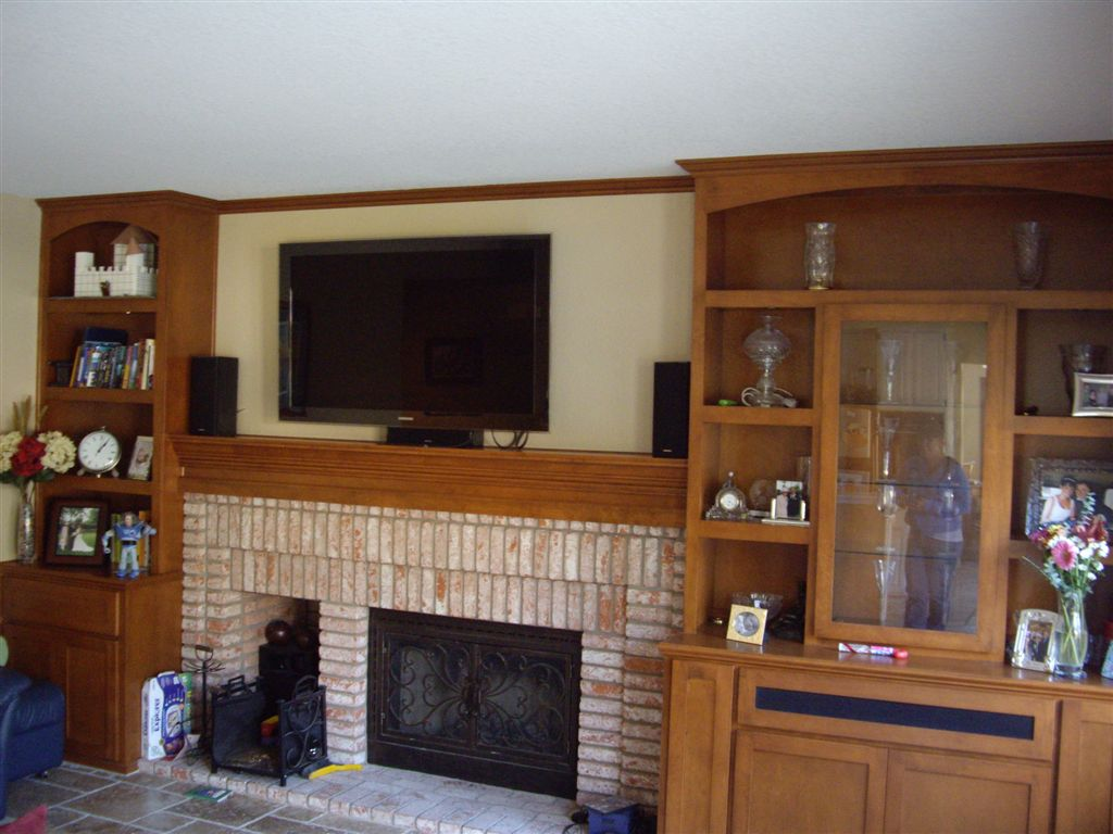 Custom Built In Shelves With Mantel And Tv Over Fireplace C L Design Specialists Inc