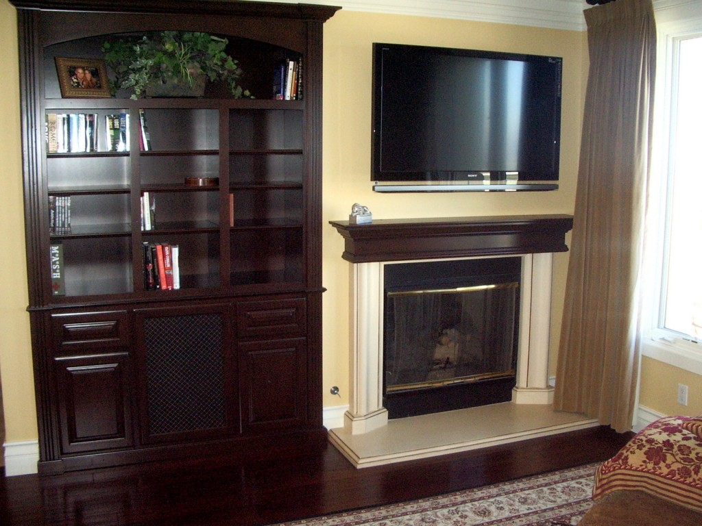 Wood Fireplace Mantel Matches Built In Book Shelves C L Design Specialists Inc