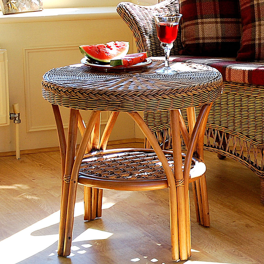 Round Conservatory Table With Shelf Cane Small Table